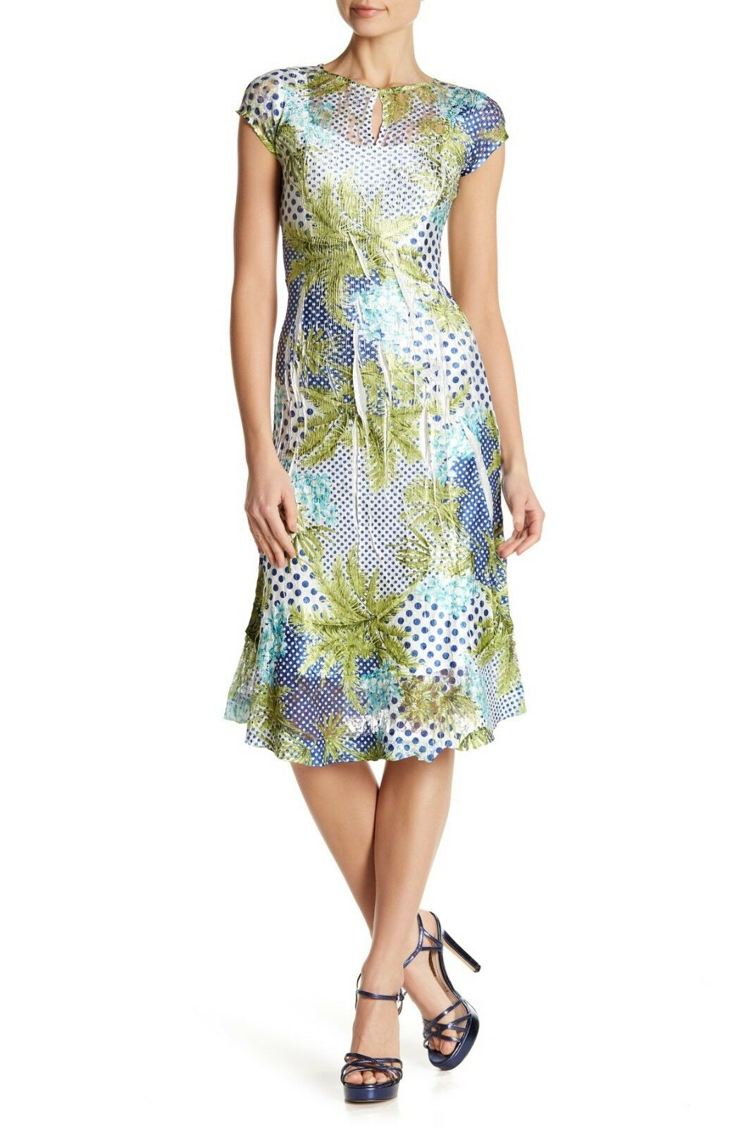 KOMAROV Cap Sleeve Keyhole Fit & Flare Dress, Jewel neck, Large, , NWT