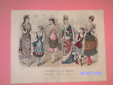 MAGNIFIQUE gravure de mode LE CONSEILLER DES FAMILLES 1883 rare colorié a main