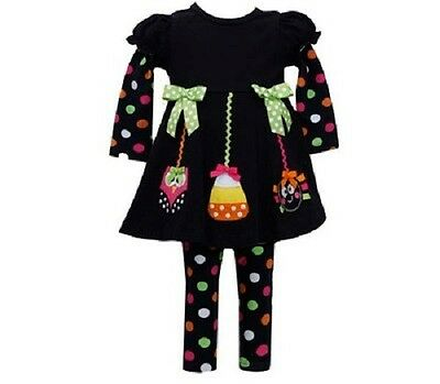 Bonnie Jean Girls Halloween Owl Candy Spider Fall Corduroy Dress Outfit 12M New
