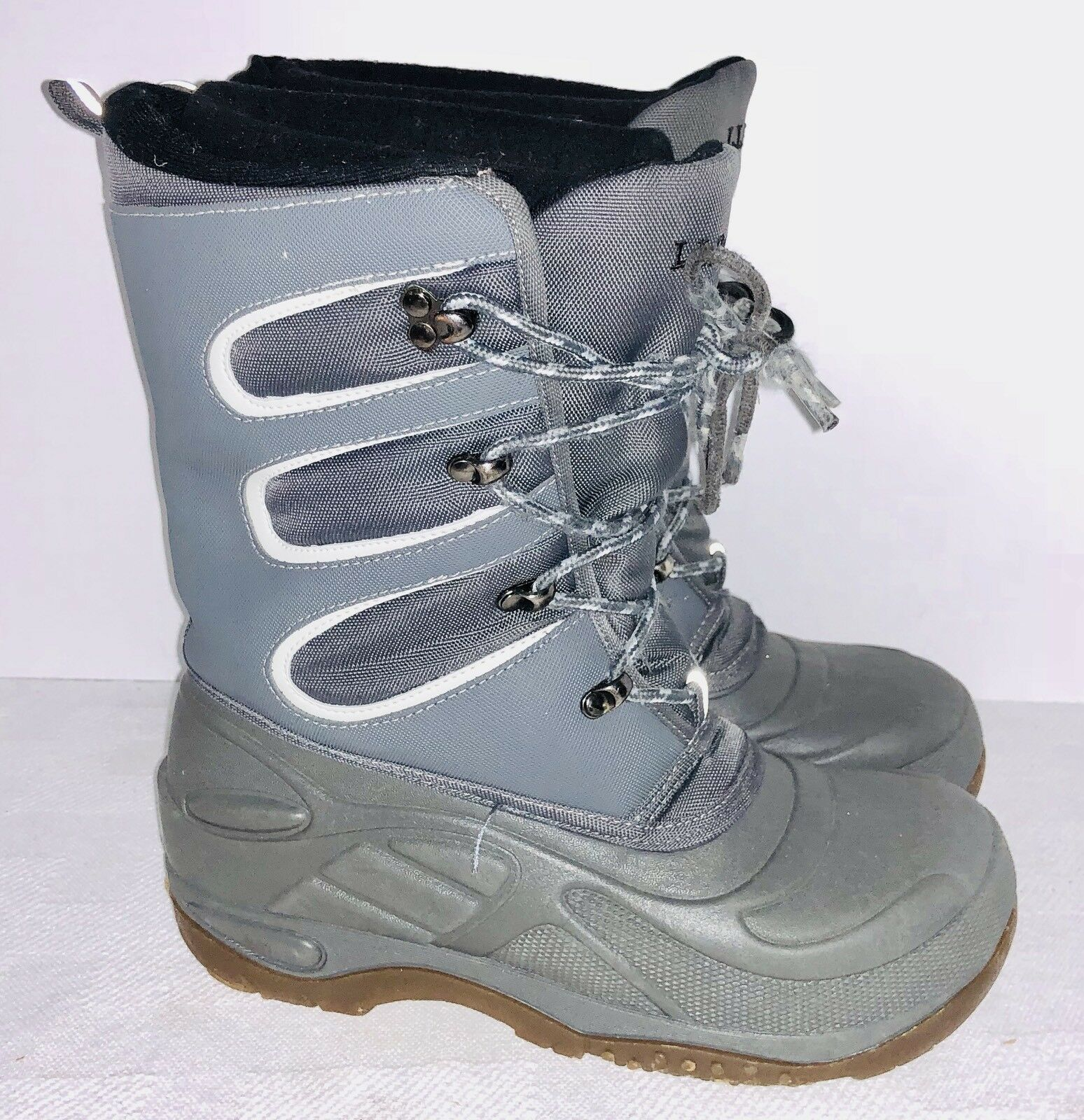 LL Bean womens Size 6 lined waterproof rain snow boots bluee Insulated