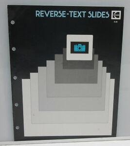 Kodak AV Reverse Text Slides Pamphlet Booklet S-26 1982 - ORIGINAL B130