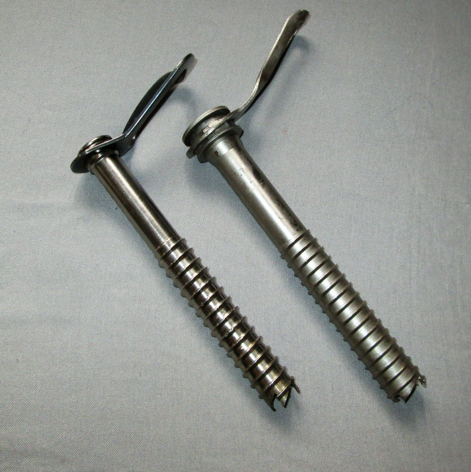 Vintage Chouinard and Lowe ice screws, ice screw greenical anchor 17cm, 18cm long
