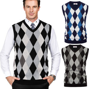 Men-039-s-Classic-Warm-V-neck-Checked-Knitted-Sweater-Vest-Sleeveless-Coat-Top-S-2XL