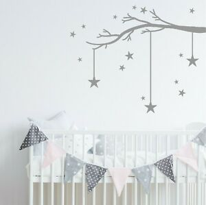 47992741593e Winter Tree Branch & Stars Wall Sticker Decal   Nursery Kids Bedroom ...