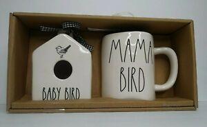 Rae Dunn Baby Bird Mini Birdhouse & Mama Bird Mug Set Farmhouse Neutral Home NWT