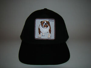 3c298dcb6fe Image is loading Butch-Bulldog-Animal-Farm-Trucker-Embroidered-Black-Mesh-