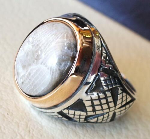 Turkish Fossil Coral 925 Sterling Silver Men/'s Ring Heavy Signet Jewelry P1568
