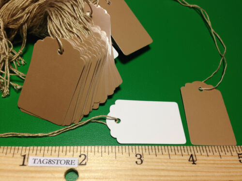 LOT 100 Scalloped KRAFT Print 1 X 1 5//8 Paper Merchandise Price Tags with String