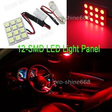 2Pcs Universal Micro Panel 12 SMD Car LED Light Auto Interior RED Bulbs Lamp