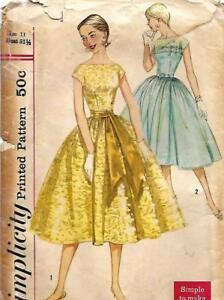 Simplicity-1878-Jr-Miss-1-Piece-Dress-w-Slip-Vtg-1956-Gathered-Bodice-Bust-31-5