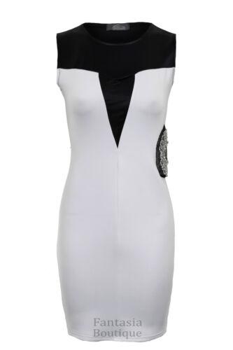 Ladies Sleeveless PVC Contrast Side Diamante Short Bodycon Women/'s Dress 8-14