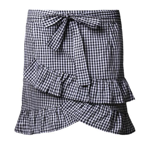 Fashion Women/'s Stretch taille haute évasée volants Rayé A-Line Mini-jupe CB