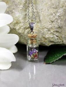 Glass-Jewels-Silber-Kette-Anhaenger-Zirkonia-Bunt-Glas-Flasche-Vintage-Retro-M066