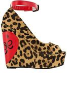 Iron Fist Lovecat Peep Toe Wedges Sz 9 Shoes Leopard Pin Up Authentic