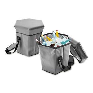 2in1 Kühlbox Camping-Hocker Picknick Klapp Stuhl Sitz Isolier-Tasche Faltbar Alu