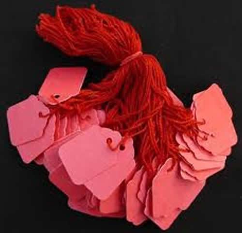 100 X 42mm X 27mm Rojo Encordado Cuerdas etiquetas swing precio entradas corbata en las etiquetas