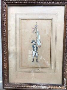 Auguste-Raffet-1804-1860-Soldat-revolutionnaire-dessin-ancien-gouache