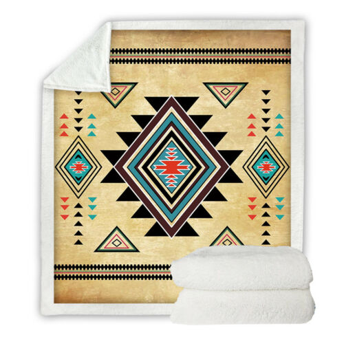 Native American Aztec Style Sherpa Plush Throw Blanket Fleece Bed Sofa Couch