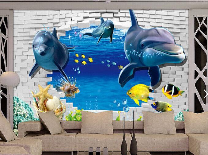 3D Blau Sea Dolphin 657 Wall Paper Wall Print Decal Deco Indoor Wall Mural CA
