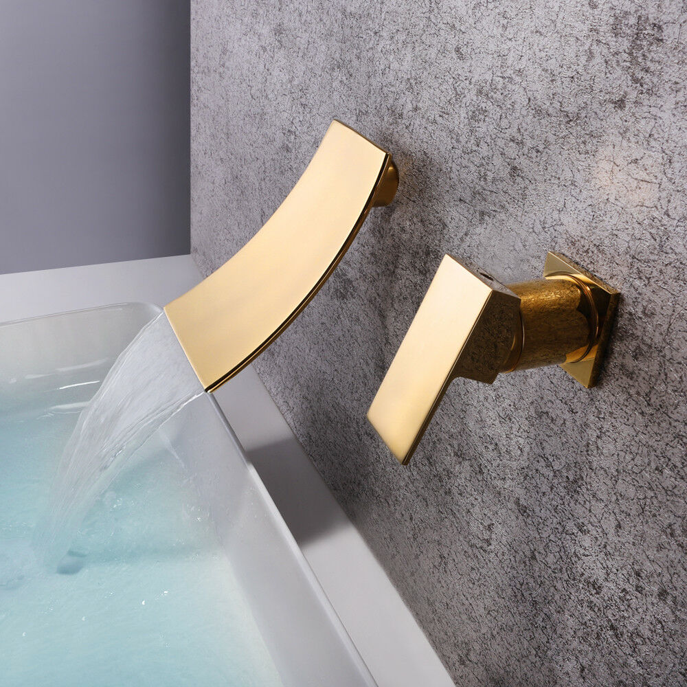 Bath Tub Basin Gold Waterfall Sink Faucet Widespread Wall Mount Mixer Brass Taps