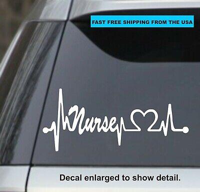 "Lifeline Heart 8/"" WHITE Vinyl Sticker Decal Car Truck Laptop Nurse Love CNA"