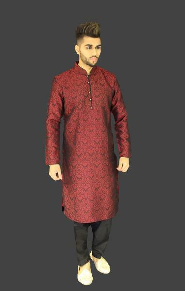Negro y  Rojo Seda Brocado Indio Paquistaní Sherwani Kurta tradicional  Mejor precio