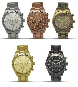 MONTRES-CARLO-BRASS-SILVER-GOLD-GUNMETAL-BROWN-TACHYMETER-CRYSTAL-CHRONO-WATCH