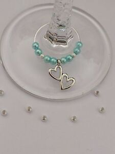 20 Aqua Pearl Wedding Wine Glass Charms With Double Hearts. Wedding ...