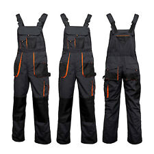 UK - Bib and Brace Overalls Heavy Duty Work Trousers Dungarees Knee Pad Pockets.