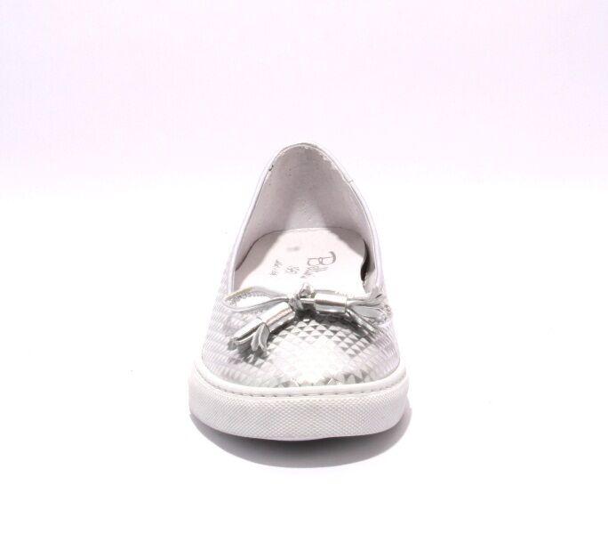 Diego Bellini Slip-On 5007 Silver  Leder Slip-On Bellini Bow Loafer schuhes 41 / US 11 320b3d