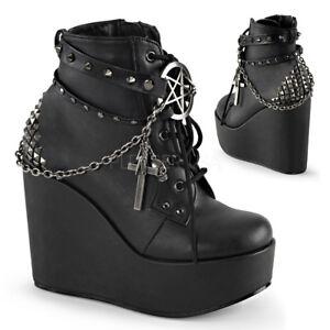 348c24c83f985 Demonia POISON-101 Women's Black Vegan Leather Wedge Platform w ...