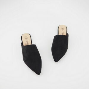 26ec3ec8e87e Women s Black Faux-Suede Asymmetric Vamp Pointed Toe Slide Flat ...