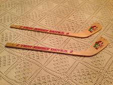 "NEW JERSEY DEVILS Kids Hanging Mini Hockey Wooden Goalie Sticks  New ""Set of 2"""