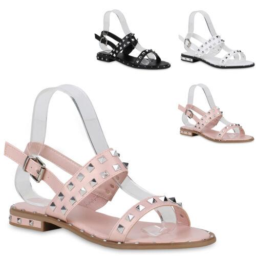 Damen Sandalen Riemchensandalen Nieten Sommer Schuhe Flats 822445 Trendy Neu