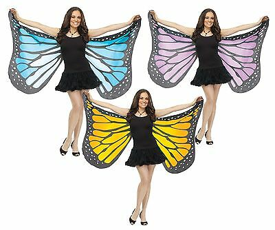 Ladies Blue Yellow Purple Soft Butterfly Animal Fancy Dress Costume Wings