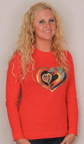 "Red Laurel Burch Long Sleeve Tee Shirt /""My Heart/"" Small Large XL"