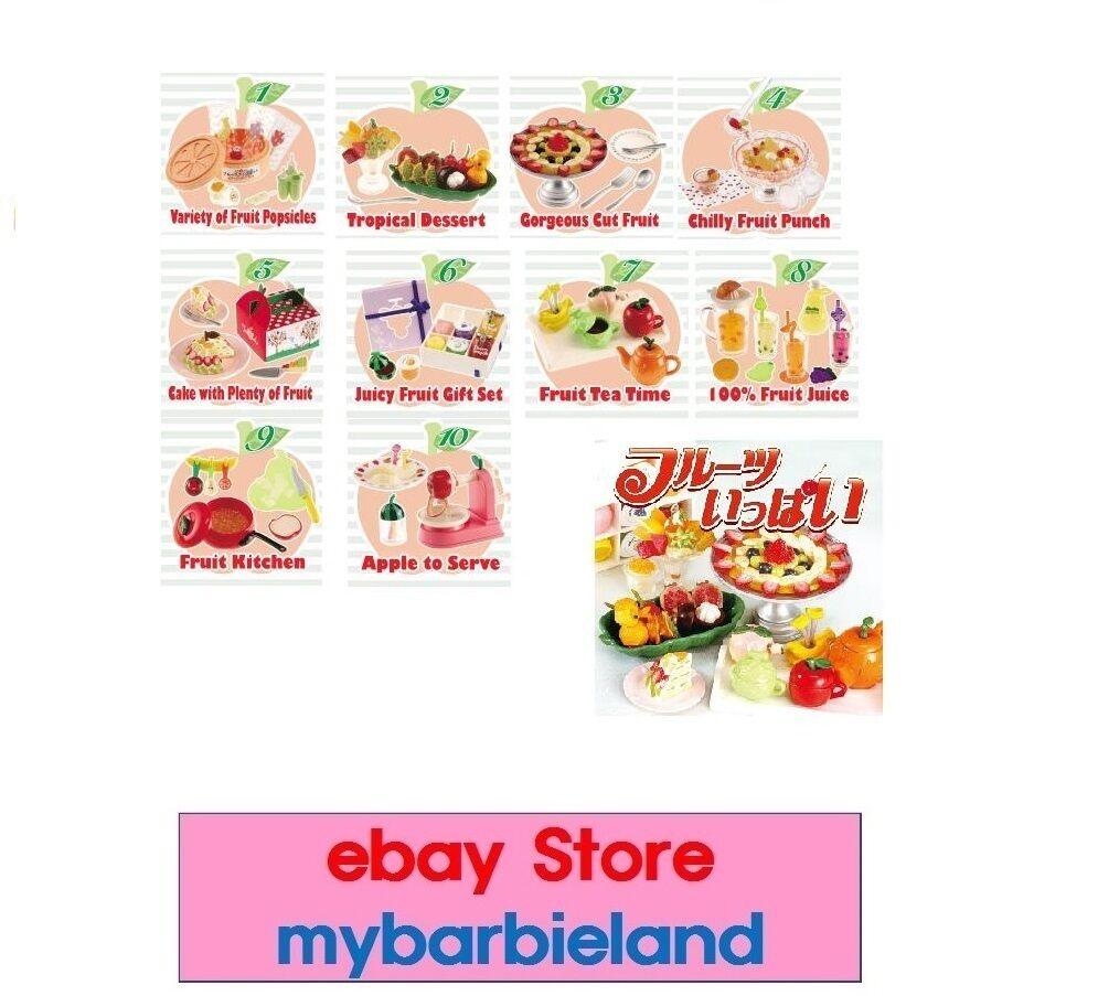 Re-ment completo conjunto de 10 Onda De Fruta Postre Barbie Talla En Miniatura De Comida VHTF RARE