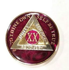 49 Year AA Sobriety Coin Medallion Rich Mandarin Red Enamel 49th Year XLIX BSP