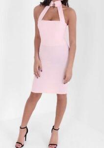 Women-s-nude-pink-dress-By-I-X-ladies-choker-midi-dress-size-8
