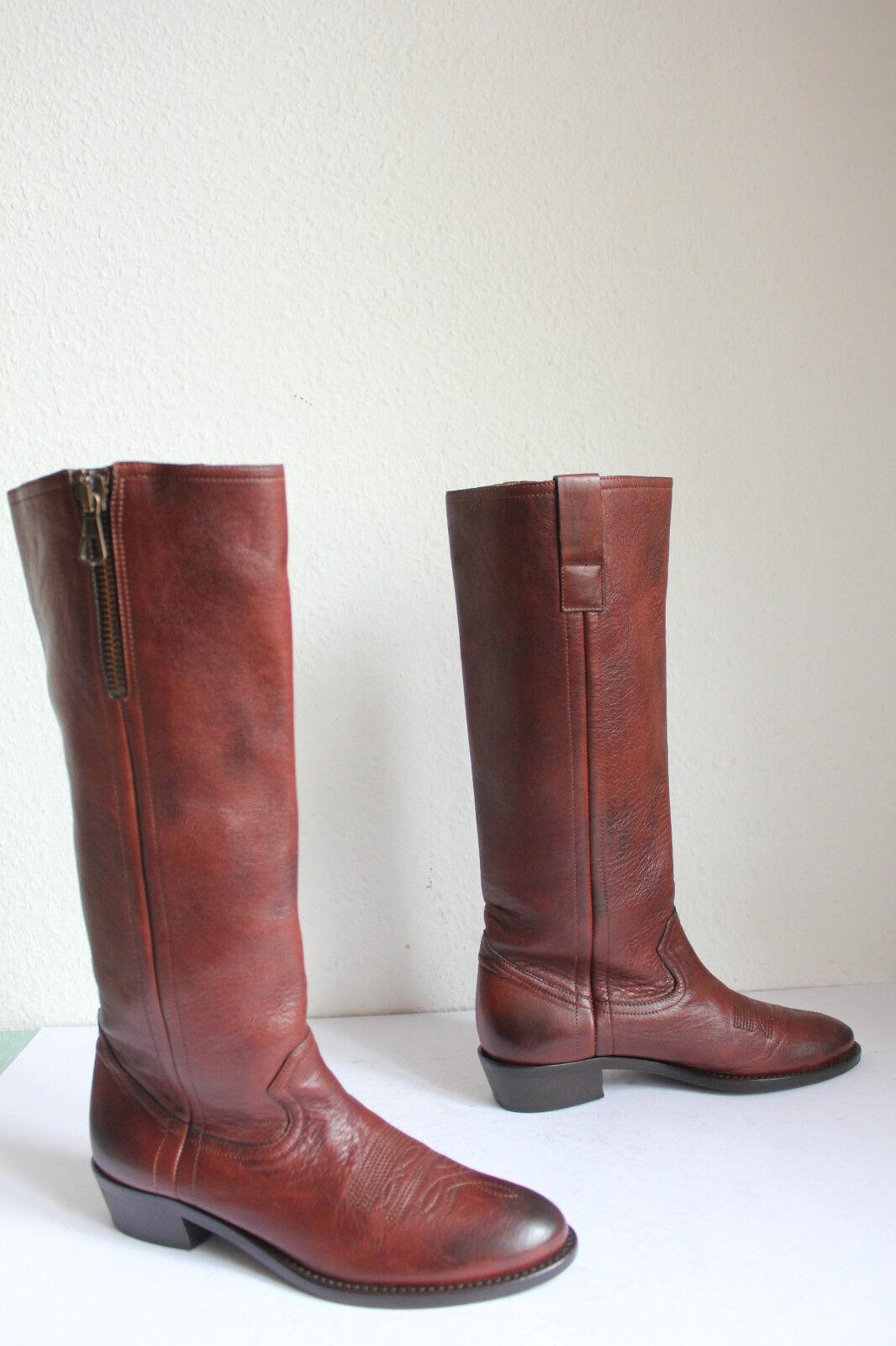Key pe pe pe 'western style bota botas High plenamente cuero genuino marrón eu 37, 5-38   Con 100% de calidad y servicio de% 100.