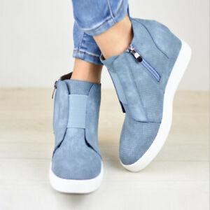 02e0ea8ec9c6 Mid Heel Ankle Boots Women Hidden Wedge Sneakers Trainers High Top ...