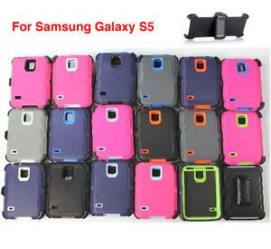 For-Samsung-Galaxy-S5-Case-Cover-Rugged-With-Fits-Otterbox-Defender-Belt-Clip