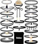 Outee 20 PCS Black Choker Necklaces Womens Velvet Choker Set Classic with Charm