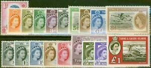 Turks-et-Caiques-Est-1955-60-Etendu-Set-19-SG235-253-V-F-Tres-Lightly-MTD-Mint