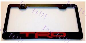 Toyota-TRD-Red-4X4-Stainless-Steel-Black-License-Plate-Frame-Caps