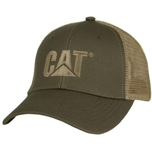 Caterpillar CAT Equipment Trucker Olive & Tan Twill Mesh Diesel Cap Hat Vintage