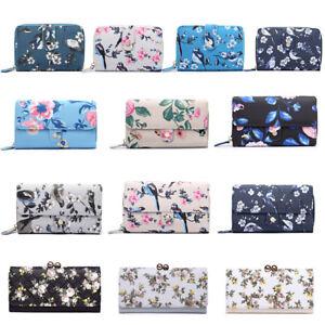 Ladies-Girls-Matte-Oilcloth-Purse-Birds-Flower-Print-Wallet-Clutch