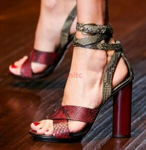 5984dfc721f Sexy Open Toe High Block Heel Strappy Leather Women Sandals Party ...
