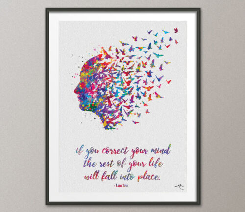 Mind Quote Watercolor Print Therapy Wall Art Yoga Meditation Decor Lao Tzu Quote