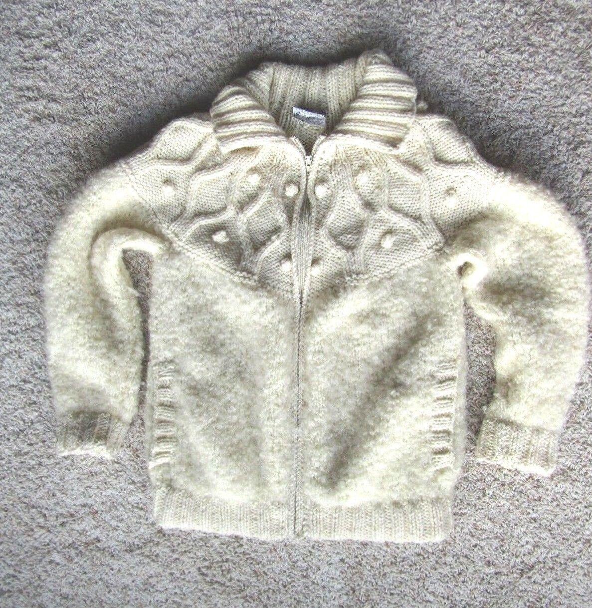 AVOCA  Handweavers Ireland Chunky Wool Fisherman's Sweater Zip Cardigan Sz.Small
